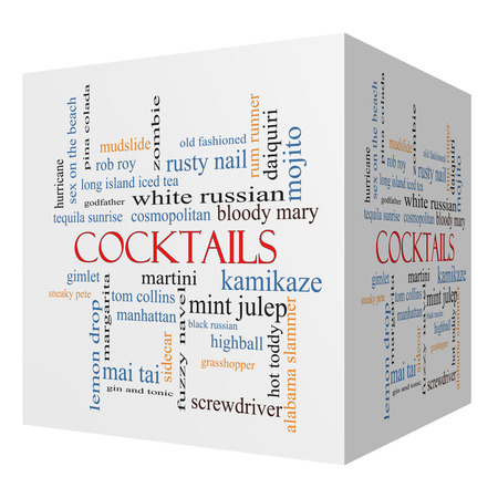 Cocktails 3D cube Word Cloud Concept with great terms such as martini, highball, gimlet and more. photo