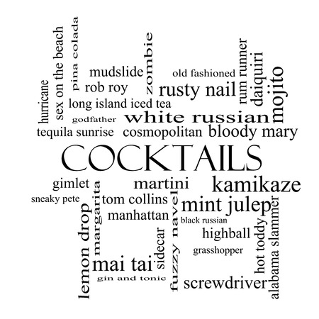 Cocktails Word Cloud Concept in black and white with great terms such as martini, highball, gimlet and more. photo