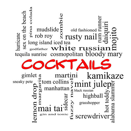 Cocktails Word Cloud Concept in red caps with great terms such as martini, highball, gimlet and more. photo