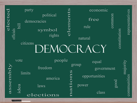 democracies: Democracy Word Cloud Concept on a Blackboard with great terms such as people, rights, vote and more.