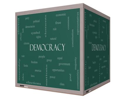 民主主義 3 D キューブ人々、権利、投票などの大きい言葉で黒板に単語雲概念。