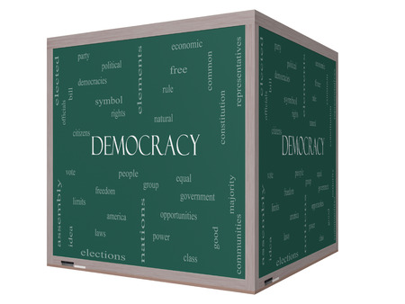 democracies: Democracy 3D cube Word Cloud Concept on a Blackboard with great terms such as people, rights, vote and more.
