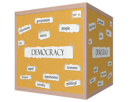 Democracy 3D cube Corkboard Word Concept with great terms such as government, people, rights and more.