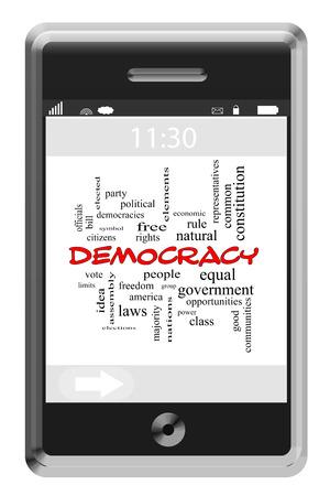 民主主義投票、選挙、人々 など偉大な条件でタッチ スクリーン携帯電話の単語雲概念。