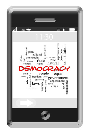 democracies: Democracy Word Cloud Concept on a Touchscreen Phone with great terms such as vote, elections, people and more.