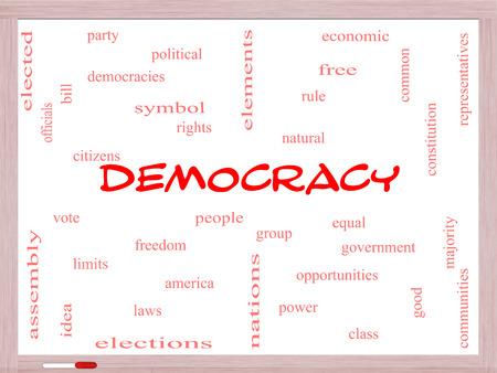 民主主義人々、権利、投票など偉大な条件でホワイト ボードに単語のクラウドのコンセプト。
