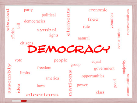 elected: Democracy Word Cloud Concept on a Whiteboard with great terms such as people, rights, vote and more. Stock Photo