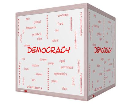 民主主義人々、権利、投票など偉大な条件で 3 D のキューブ ホワイト ボードに単語雲概念。 写真素材