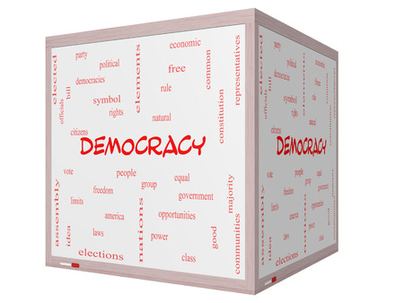 democracies: Democracy Word Cloud Concept on a 3D cube Whiteboard with great terms such as people, rights, vote and more.