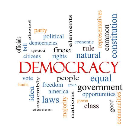 democracia: Democracia Palabra Nube Concepto con los términos como las personas, los derechos de voto, y mucho más.