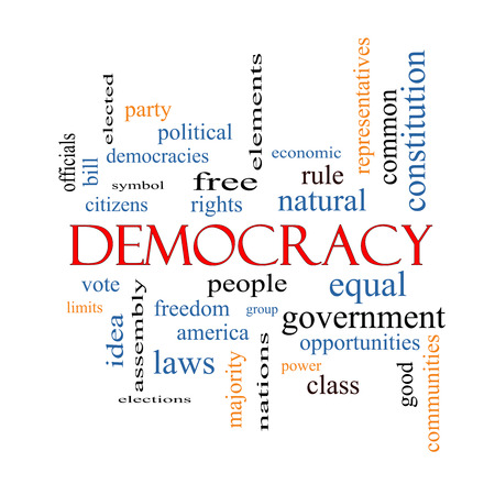 Democracy Word Cloud Concept with great terms such as people, rights, vote and more. photo