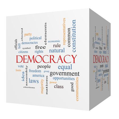 democracia: Democracia cubo 3D Palabra Nube Concepto con los términos como las personas, los derechos de voto, y mucho más.
