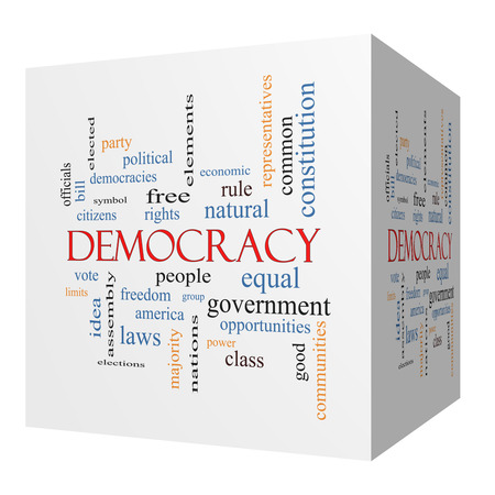 Democracy 3D cube Word Cloud Concept with great terms such as people, rights, vote and more.