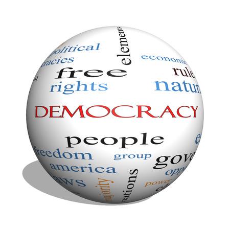 人々、権利、投票など偉大な条件で民主主義の 3 D 球の単語の雲の概念。