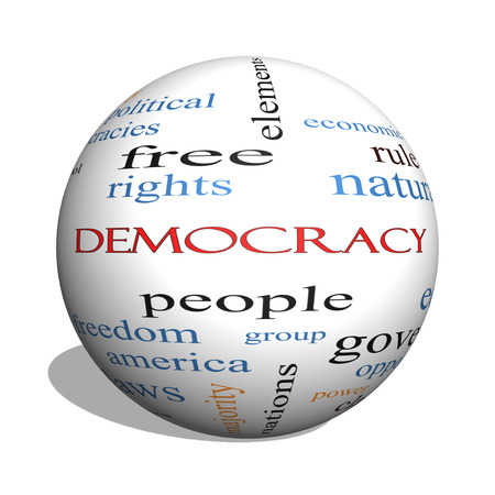 free vote: Democracy 3D sphere Word Cloud Concept with great terms such as people, rights, vote and more. Stock Photo