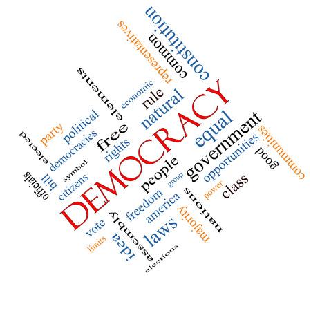 民主主義の単語の雲の概念の人々、権利、投票などの大きい言葉に角度が付いてください。 写真素材