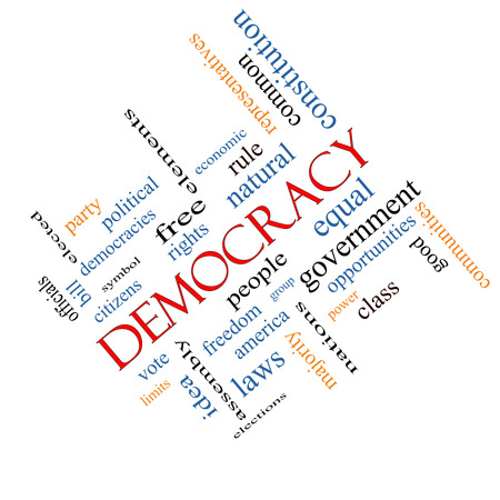 democracies: Democracy Word Cloud Concept angled with great terms such as people, rights, vote and more. Stock Photo