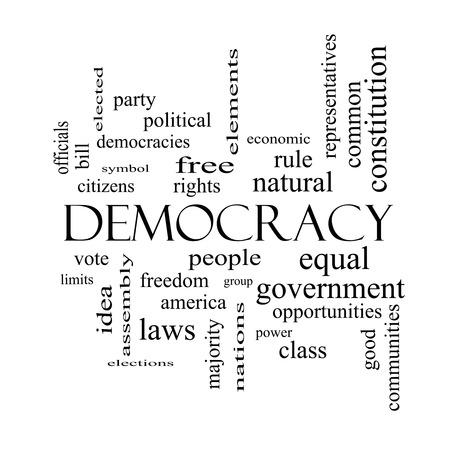 黒と白の人々、権利、投票など偉大な条件で民主主義単語雲概念。