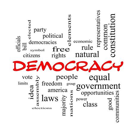 民主主義人々、権利、投票など偉大な条件で赤い帽子の単語クラウドのコンセプト。 写真素材