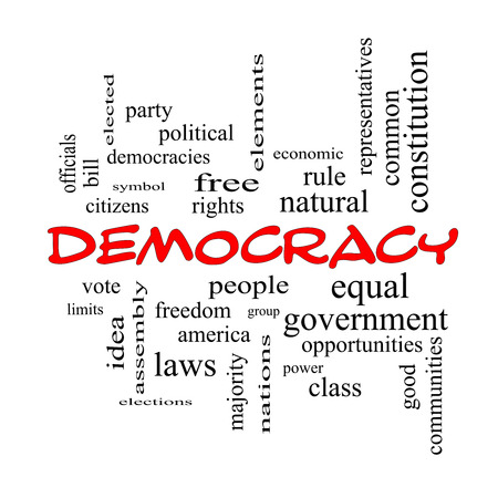 democracies: Democracy Word Cloud Concept in red caps with great terms such as people, rights, vote and more. Stock Photo