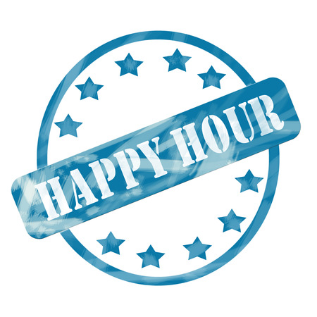 A blue ink weathered roughed up circle and stars stamp design with the word HAPPY HOUR on it making a great concept. Banco de Imagens