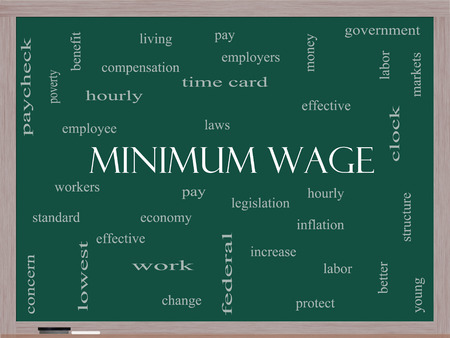 minimum wage: Minimum Wage Word Cloud Concept on a Blackboard with great terms such as pay, laws, hourly, workers and more.