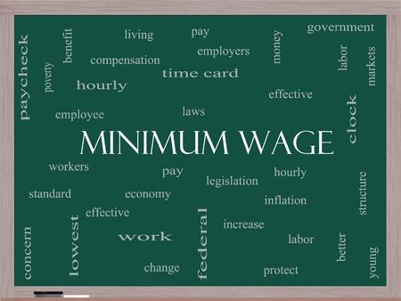 minimum wage: Salario M�nimo Palabra Nube Concepto en una pizarra con los t�rminos de la talla de pago, las leyes, cada hora, los trabajadores y m�s.