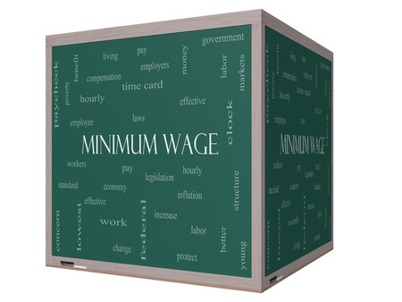 minimum wage: Minimum Wage Word Cloud Concept on a 3D cube Blackboard with great terms such as pay, laws, hourly, workers and more.
