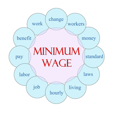 minimum wage: Minimum Wage concept circular diagram in pink and blue with great terms such as change, workers, money and more. Stock Photo