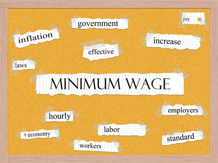 minimum wage: Minimum Wage Corkboard Word Concept with great terms such as govenment, increase, inflation and more.