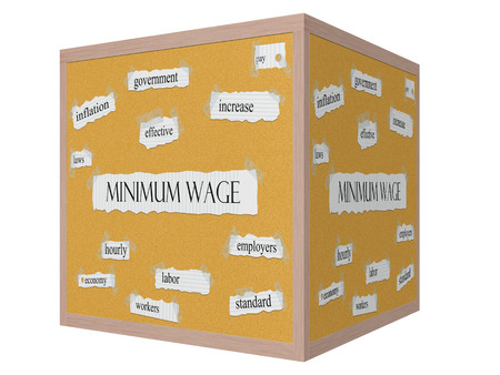 minimum wage: Minimum Wage 3D cube Corkboard Word Concept with great terms such as govenment, increase, inflation and more.