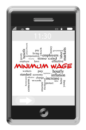 minimum wage: Minimum Wage Word Cloud Concept on a Touchscreen Phone with great terms such as hourly, pay, workers and more.