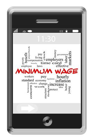 minimum wage: Salario M�nimo Palabra Nube Concepto en un tel�fono con pantalla t�ctil con grandes t�rminos como la hora, los salarios, los trabajadores y m�s.