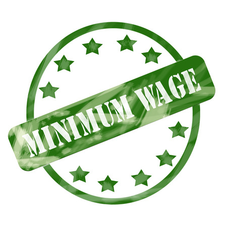 minimum wage: A green ink weathered roughed up circles and stars stamp design with the words MINIMUM WAGE on it making a great concept.