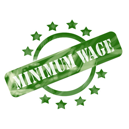 minimum wage: A green ink weathered roughed up circle and stars stamp design with the words MINIMUM WAGE on it making a great concept. Stock Photo