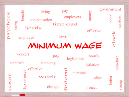 better living: Minimum Wage Word Cloud Concept on a Whiteboard with great terms such as pay, laws, hourly, workers and more.