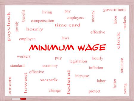 minimum wage: Salario M�nimo Palabra Nube Concepto en una pizarra con t�rminos de calidad, como la remuneraci�n, las leyes, cada hora, los trabajadores y m�s.