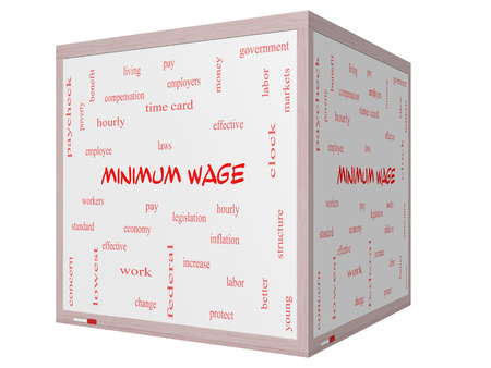 minimum wage: Minimum Wage Word Cloud Concept on a 3D cube Whiteboard with great terms such as pay, laws, hourly, workers and more.