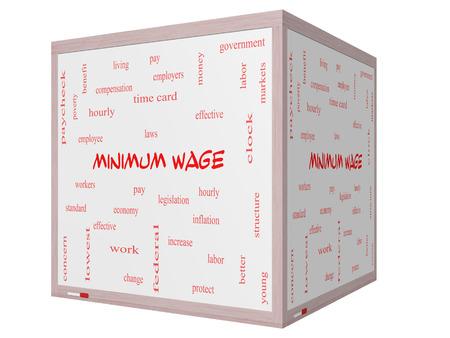 minimum wage: Salario M�nimo Palabra Nube Concepto en una pizarra cubo 3D con los t�rminos tales como salarios, leyes, cada hora, los trabajadores y m�s. Foto de archivo