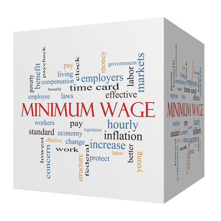 minimum wage: Minimum Wage 3D cube Word Cloud Concept with great terms such as pay, laws, hourly, workers and more. Stock Photo