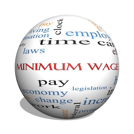 minimum wage: M�nimo esfera Salario 3D Palabra Nube Concepto con los t�rminos tales como salarios, leyes, cada hora, los trabajadores y m�s.