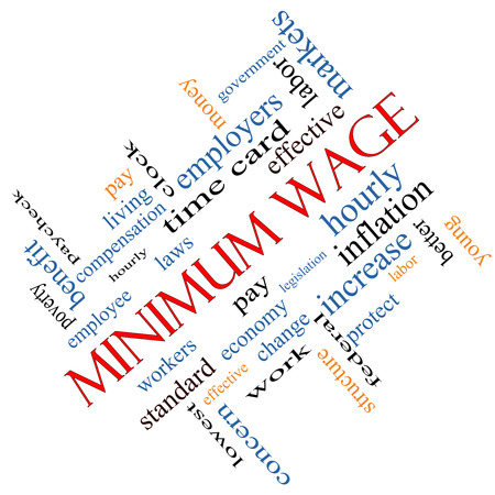 minimum wage: Minimum Wage Word Cloud Concept angled with great terms such as pay, laws, hourly, workers and more.