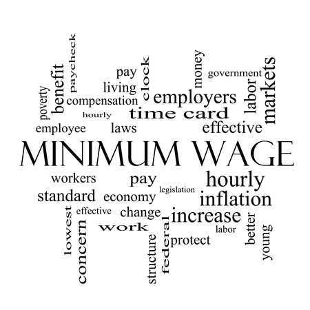 minimum wage: Minimum Wage Word Cloud Concept in black and white with great terms such as pay, laws, hourly, workers and more.