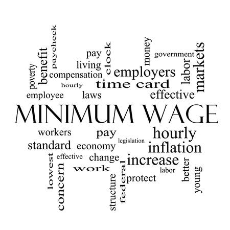 minimum wage: Salario M�nimo Palabra Nube Concepto en blanco y negro con los t�rminos tales como salarios, leyes, cada hora, los trabajadores y m�s.
