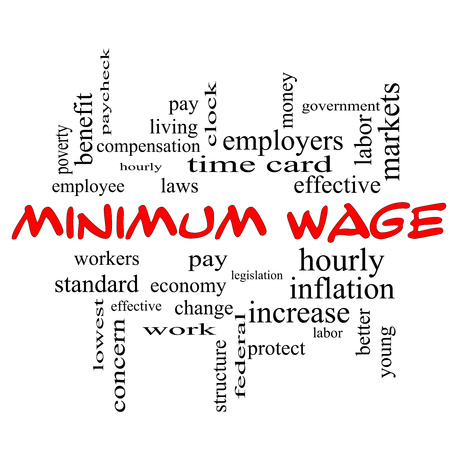 minimum wage: Minimum Wage Word Cloud Concept in red caps with great terms such as pay, laws, hourly, workers and more.