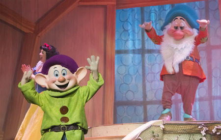 GREEN BAY, WI - FEBRUARY 10:  Grumpy and Dopey from Snow White from Snow White at the Disney Princesses show at the Resch Center on February 10, 2012 in Green Bay, Wisconsin.