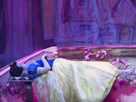 GREEN BAY, WI - FEBRUARY 10:  Snow White sleeping from Snow White at the Disney Princesses show at the Resch Center on February 10, 2012 in Green Bay, Wisconsin.