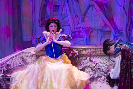 GREEN BAY, WI - FEBRUARY 10:  Snow White Waking up by Prince from Snow White at the Disney Princesses show at the Resch Center on February 10, 2012 in Green Bay, Wisconsin.