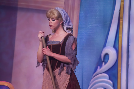 GREEN BAY, WI - FEBRUARY 10:  Cinderella in rags with broom from Cinderella at the Disney Princesses show at the Resch Center on February 10, 2012 in Green Bay, Wisconsin.