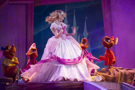 GREEN BAY, WI - FEBRUARY 10:  Cinderella and Mice with new dress displayed from Cinderella at the Disney Princesses show at the Resch Center on February 10, 2012 in Green Bay, Wisconsin.